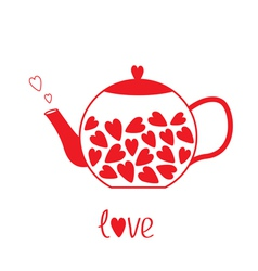 Love teapot with hearts love card vector