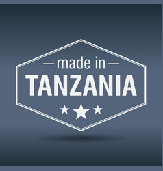 Made in tanzania hexagonal white vintage label vector