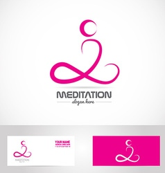 Meditation yoga pose logo vector