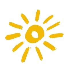 Painted Yellow Sun Icon vector image