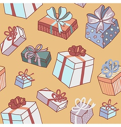 pattern gifts yellow vector image