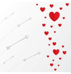 Red paper hearts Valentines day card with arrows vector image