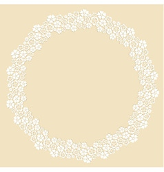 Round frame made of white paper cut flowers vector