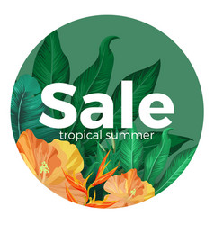 Sale tropical summer advertisement with gorgeous vector