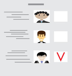Sample ballot for voting with choice of candidates vector