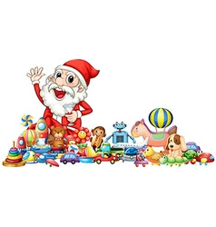 Santa with lots of toys vector