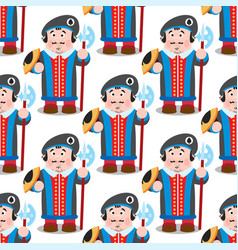 seamless pattern with cartoon prince vector image