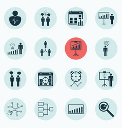 Set of 16 management icons includes report vector