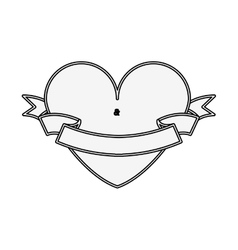 silhouette heart shape with label vector image vector image
