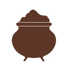 Silhouette with pot full in brown color vector