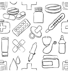 Sketch pharmacy seamless pattern vector