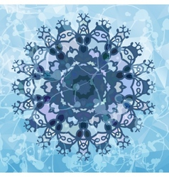 Snowflake like design over blue triangles vector