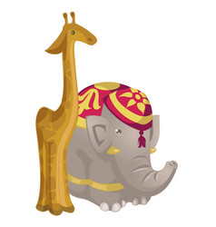 Toy figurines giraffe and elephant vector