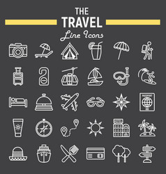 Travel line icon set tourism symbols collection vector