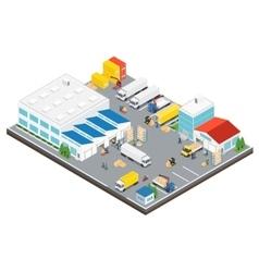 Warehouse industrial area isometric vector