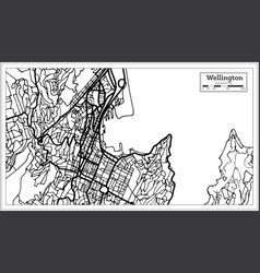 wellington new zealand city map in black and vector image