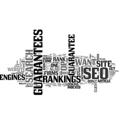 Why clients seek seo guarantees text word cloud vector