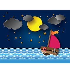 yacht on sea night full moon vector image vector image