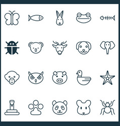 Zoology icons set with night fowl marsupial toad vector