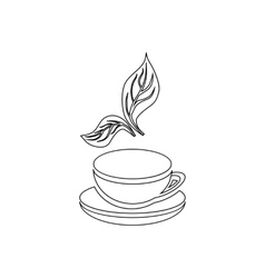 Cup of tea and mint leaf icon outline style vector