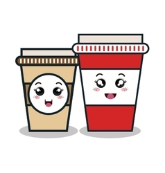 Cartoon two cup plastic facial expression isolated vector