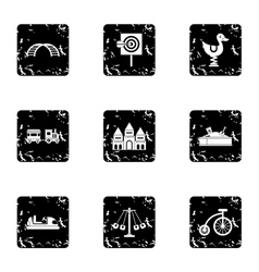Swing icons set grunge style vector