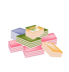 Thai Layer Sweet Cake on White Background vector image