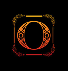 Letter o with ornament vector