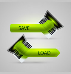 computer arrow loading and saving vector image