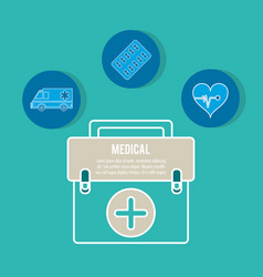 Emergency briefcase equipment medicine vector