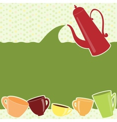 Greeting card with teapot and cups vector