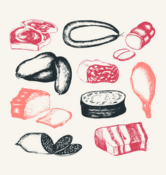 Processed meat - hand drawn composite vector