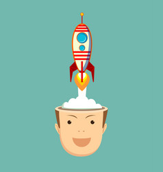 Successful businessman with rocket ship launching vector