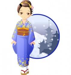 winter kimono girl vector image