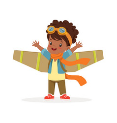 Cute little african girl in pilot costume playing vector