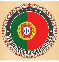 Vintage label cards of portugal flag vector