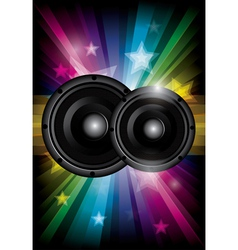 Disco club flyer with black speaker vector