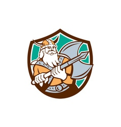 Viking raider barbarian warrior axe shield retro vector