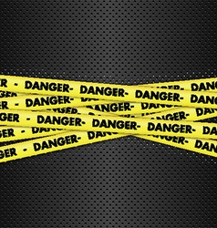Danger tape on metallic background vector
