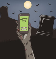 Halloween party mobile invitation vector