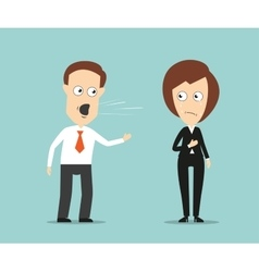 Businessman yelling at crying female colleague vector