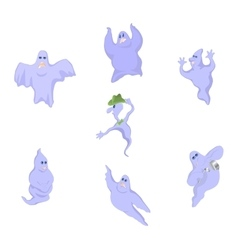Cartoon funny good funny ghosts on halloween vector