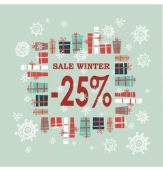 Winter sale background with red lettersgifts and vector