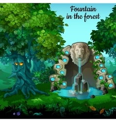 Mystic garden fountain with lion head vector