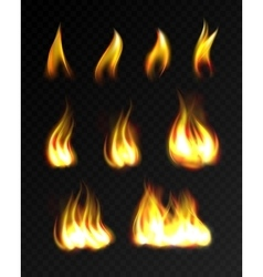 Realistic fire flames set vector
