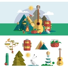 Camping outdoor design elements in flat style vector