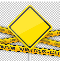 Road yellow sign with yellow police strip vector