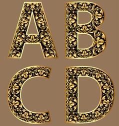 Gold vintage decorative font vector