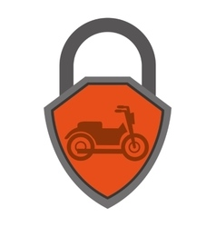 Security shield with motorcycle isolated icon vector
