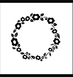 Black and white vintage Flower ring frame vector image vector image